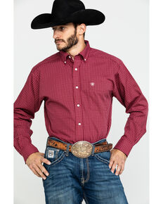 Ariat Men's Waggerland Check Plaid Long Sleeve Western Shirt , Burgundy, hi-res