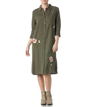 Miss Me Women's Floral Embroidered Button-Down Dress , Olive, hi-res