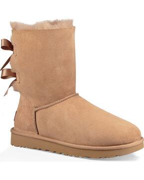 UGG Women's Fawn Bailey Bow II Boots - Round Toe , Brown, hi-res