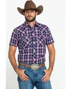 Wrangler Retro Men's Navy Plaid Short Sleeve Western Shirt , Navy, hi-res