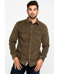 Moonshine Spirit Men's Chord Solid Fashion Long Sleeve Western Shirt , Tan, hi-res