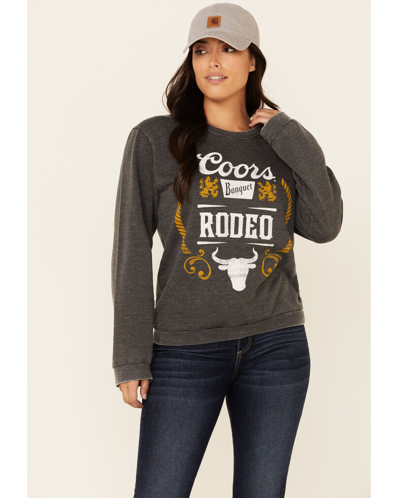 Recycled Karma Women's Black Washed Coors Rodeo Graphic Pullover Sweatshirt , Black, hi-res