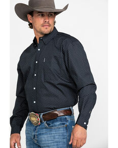 Cinch Men's Navy Modern Dot Geo Print Long Sleeve Western Shirt , Navy, hi-res