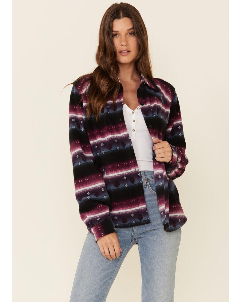 Outback Trading Co. Women's Purple Aztec Karla Long Sleeve Big Shirt , Purple, hi-res