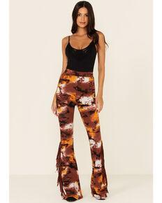 Idyllwind Women's Rust Copper Tie-Dye Fringe Shaker Pants , Rust Copper, hi-res
