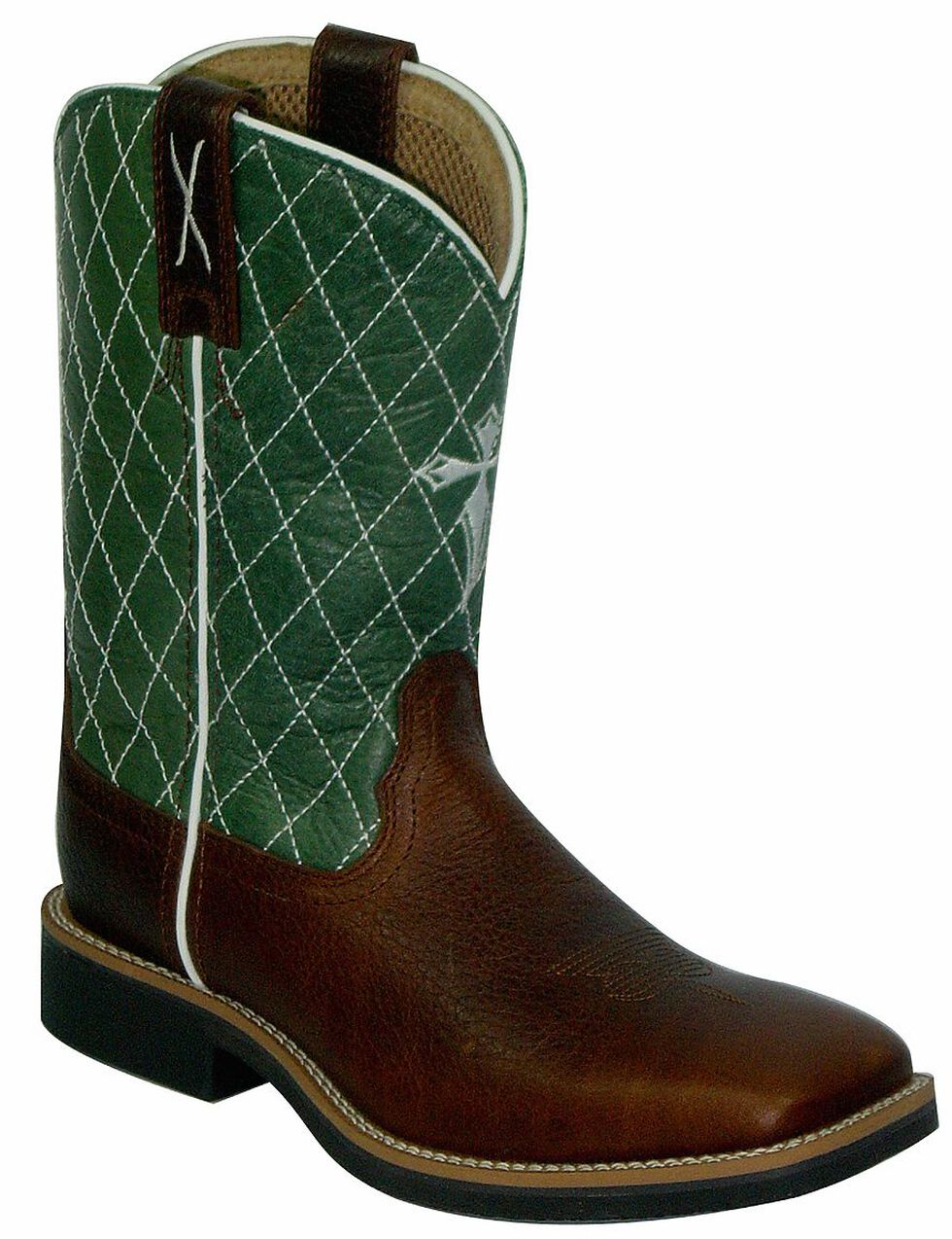 Twisted X Youth Green Cowkid Work Boots - Square Toe, Cognac, hi-res