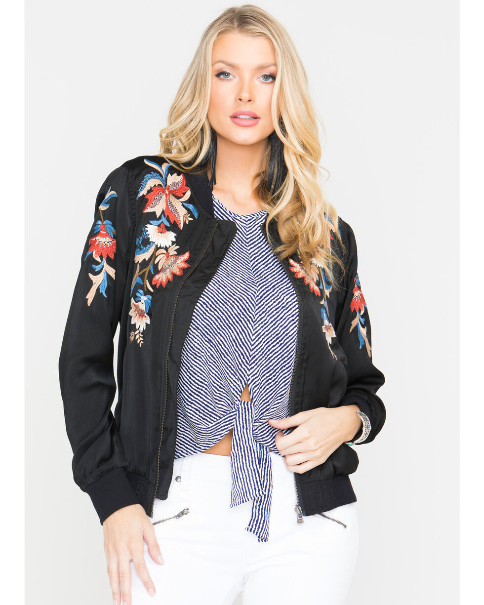 Miss Me Women's Lost Beauty Bomber Jacket, Black, hi-res