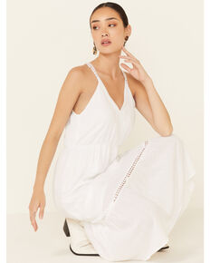 Molly Bracken Women's White Lace Trim Maxi Dress, White, hi-res