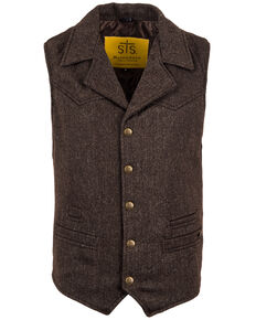 STS Ranchwear Men's Brown Wool Gambler Vest - Big , Brown, hi-res