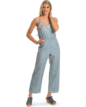 Derek Heart Women's Embroidered Denim Jumpsuit, Blue, hi-res
