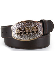Cody James Men's Bullet Buckle Leather Belt, Brown, hi-res