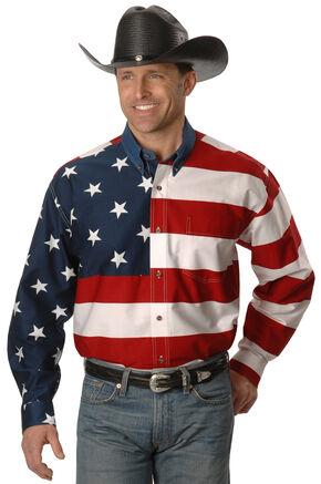 Roper Flag Print Shirt - Big & Tall, White, hi-res