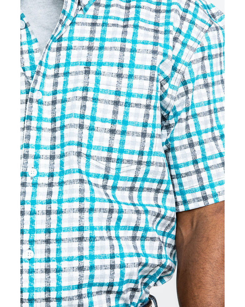 Cody James Core Men's Cross Hair Small Plaid Short Sleeve Western Shirt , White, hi-res