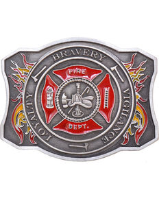 Western Express Men's Silver Fire Department Belt Buckle , Silver, hi-res