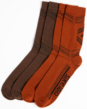 Cody James Men's 2-Pack Performance Socks, Brown, hi-res