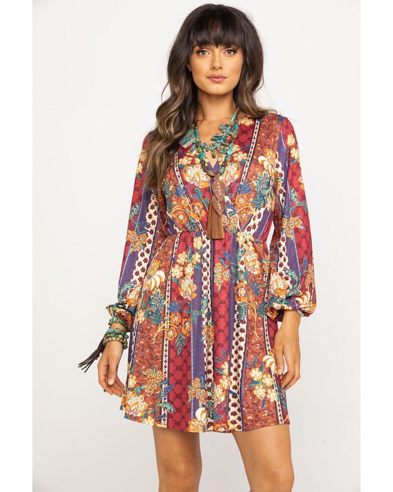 Flying Tomato Women's Boho Paisley Print Surplice Long Sleeve Dress, Rust Copper, hi-res