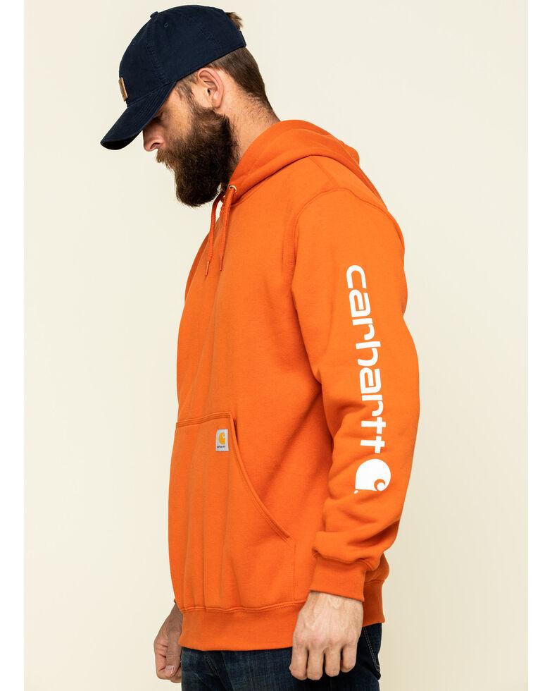 Carhartt Men's Harvest Orange Midweight Signature Sleeve Logo Hooded Work Sweatshirt, Orange, hi-res