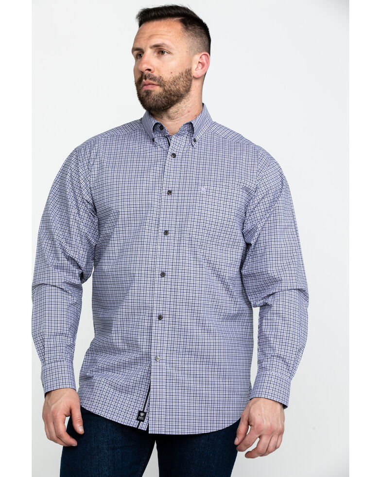 Ariat Men's Mo Stretch Small Plaid Long Sleeve Western Shirt - Big & Tall , Purple, hi-res
