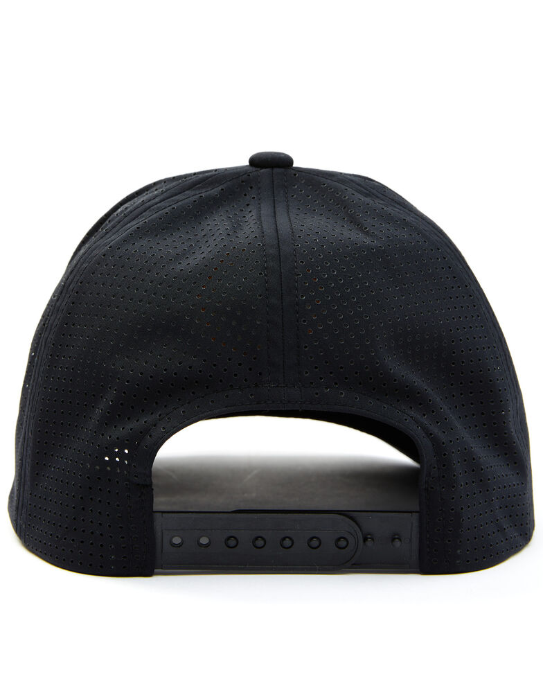 Brixton Men's Black On Black Crest Circle Logo Patch Crossover MP Mesh-Back Ball Cap , Black, hi-res