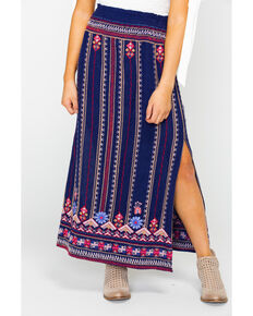 Johnny Was Women's Fredrique Side Slit Maxi Skirt, Navy, hi-res