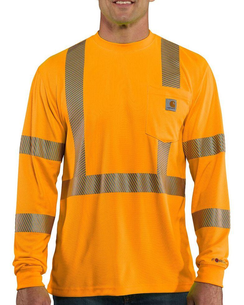 Carhartt Force Men's High-Visibilty Class 3 Long Sleeve Work T-Shirt, Orange, hi-res