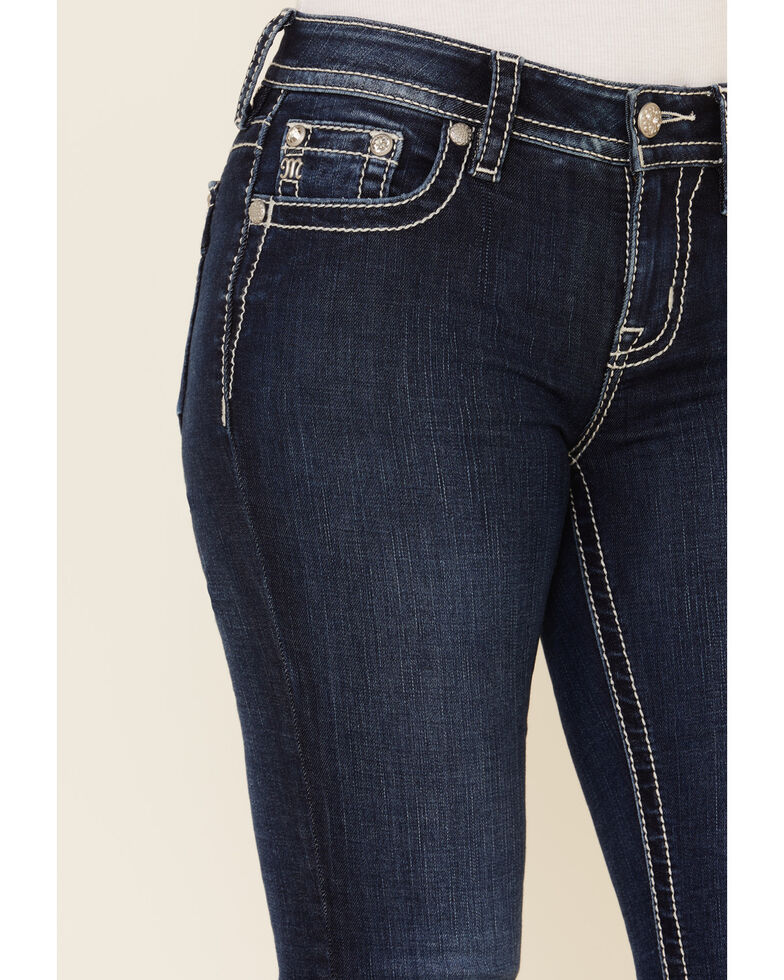 Miss Me Women's Silver Glistening Angel Wing Bootcut Jeans , Blue, hi-res