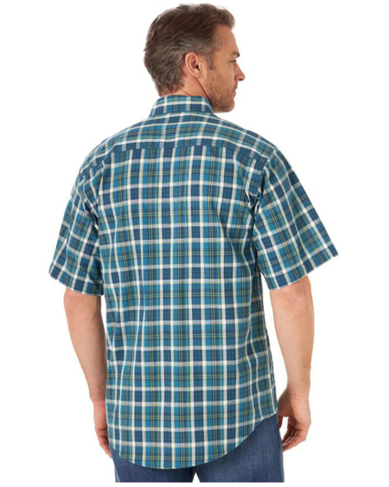 Wrangler Riggs Men's Blue Foreman Plaid Short Sleeve Button-Down Work Shirt - Big , Blue, hi-res