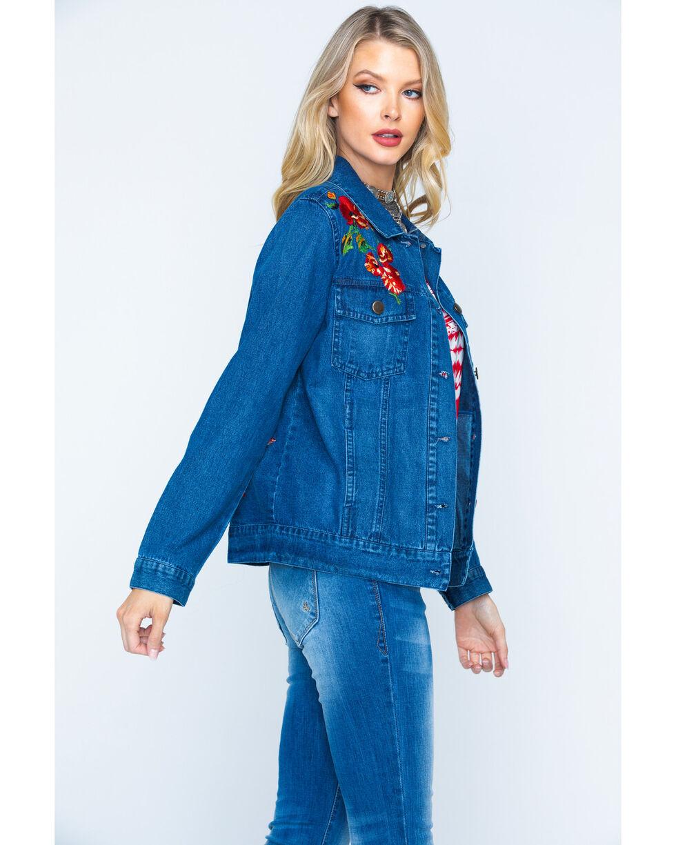 New Direction Sport Women's Indigo Embroidered Denim Jacket , Indigo, hi-res