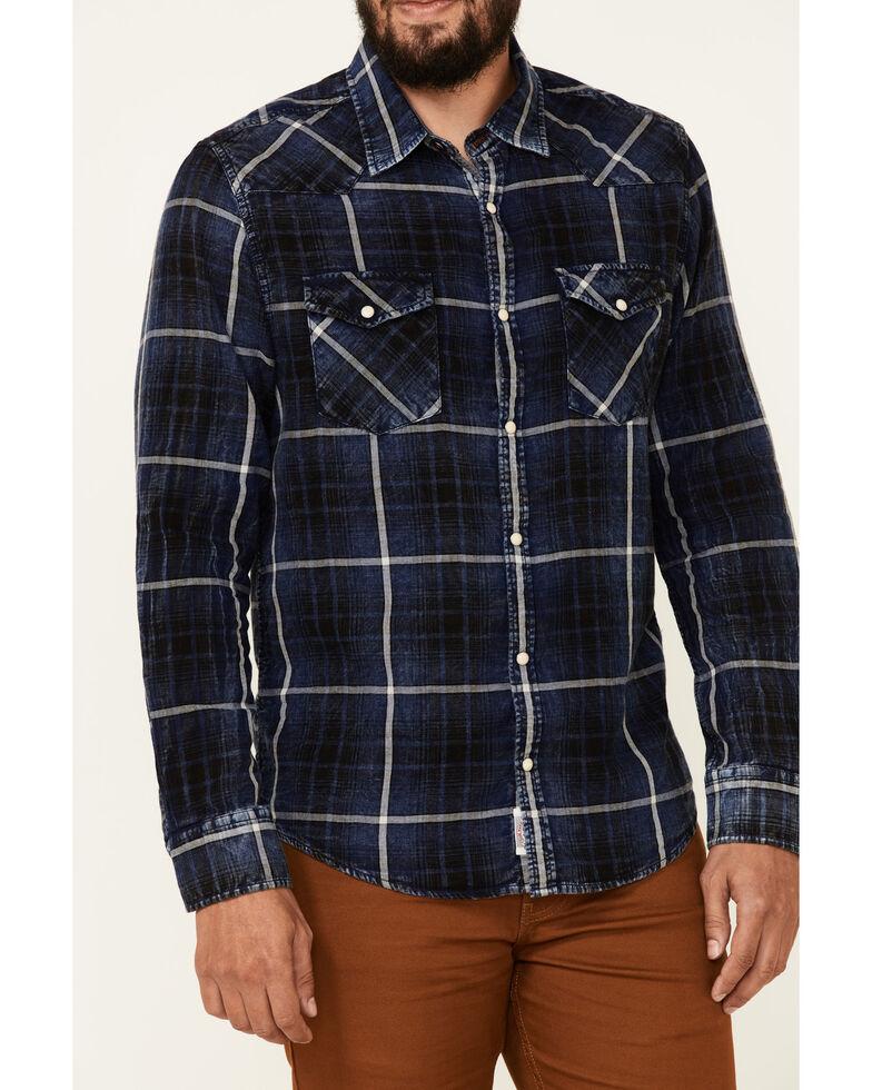 Flag & Anthem Men's Thornton Plaid Long Sleeve Western Shirt , Navy, hi-res