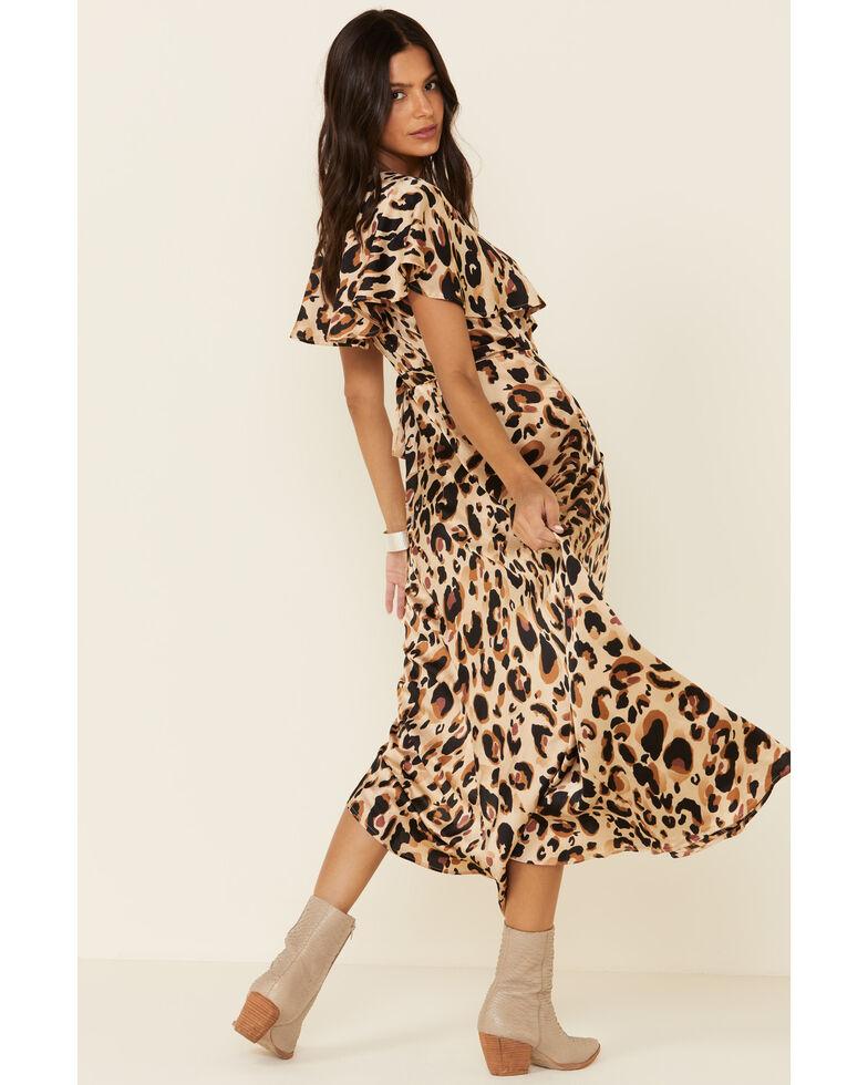 HYFVE Women's Leopard Wrap Maxi Dress, Brown, hi-res