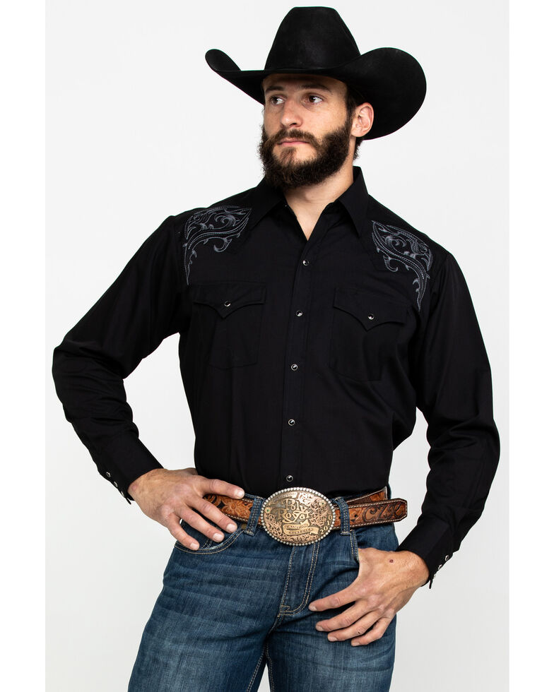 Ely Cattleman Men's Assorted White Solid Embroidered Long Sleeve Western Shirt  , Multi, hi-res