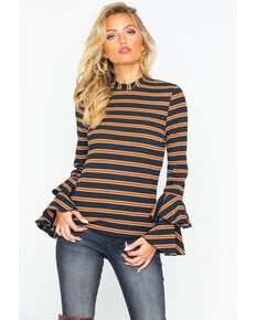 Flying Tomato Women's Striped Bell Long Sleeve Top, Rust Copper, hi-res