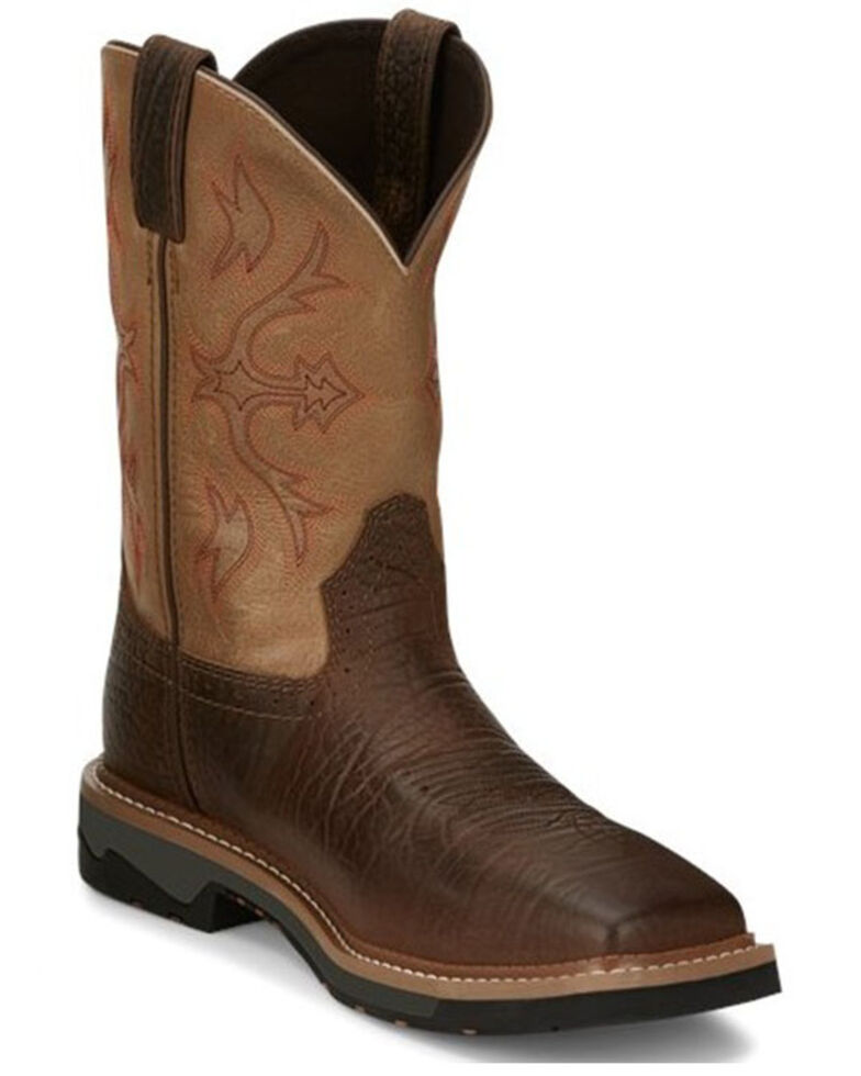 Justin Men's Bolt Western Work Boots - Composite Toe, Pecan, hi-res