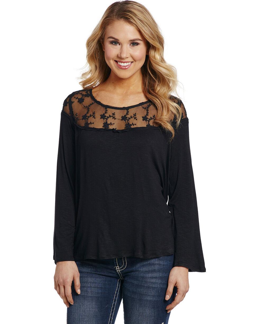 Cowgirl Up Women's Black Lace Yoke Top , Black, hi-res