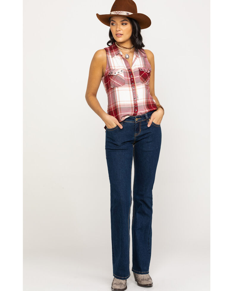 Shyanne Women's Red Plaid Button Down Tunic, Red, hi-res