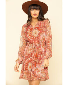 Miss Me Women's Red Medallion Chiffon Long Sleeve Dress, Rust Copper, hi-res
