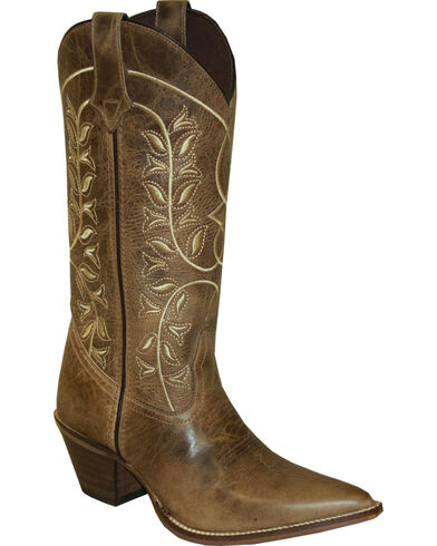 """Women's Rawhide by 12"""" Embroidered Classic Western Boot Pointed Toe Brown 7 M"""