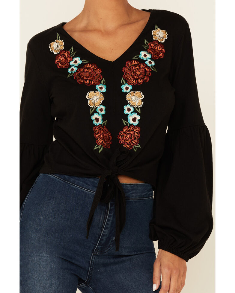 Rock & Roll Denim Women's Black Floral Embroidered Tie Front Long Sleeve Peasant Top , Black, hi-res