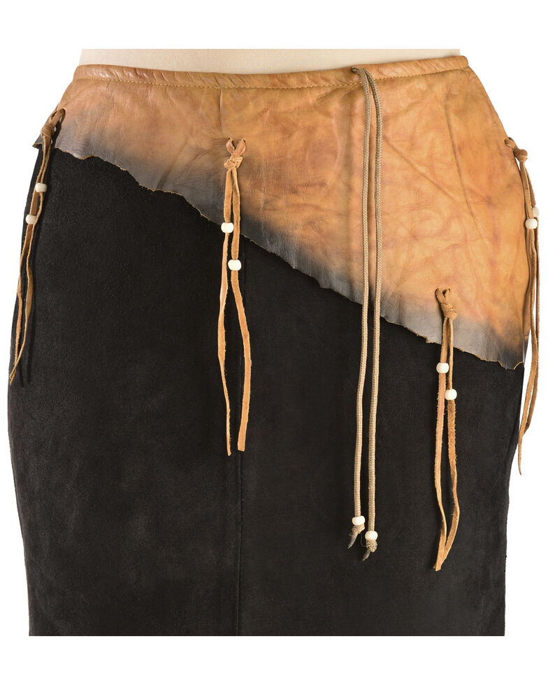 Kobler Leather Women's Leather & Fringe Sioux Suede Skirt, Black, hi-res