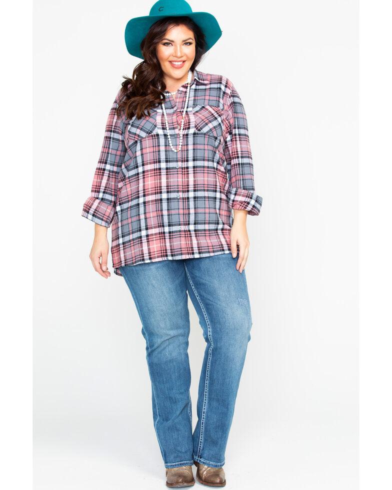 Derek Heart Women's Plaid Button Down Flannel - Plus, Blush, hi-res
