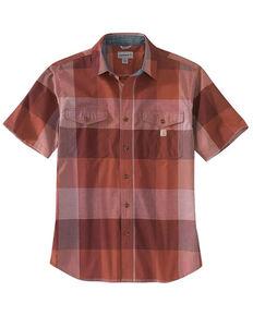 Carhartt Men's Auburn Plaid Lightweight Short Sleeve Button-Down Work Shirt , Medium Red, hi-res