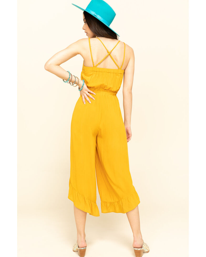 Rock & Roll Denim Women's Squash Blossom Embroidered Jumpsuit, Dark Yellow, hi-res