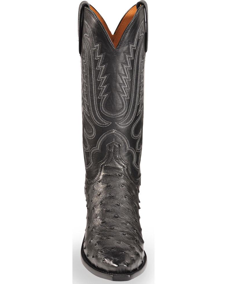 Lucchese Men's Handmade Luke Black Full Quill Ostrich Western Boots - Snip Toe, Black, hi-res