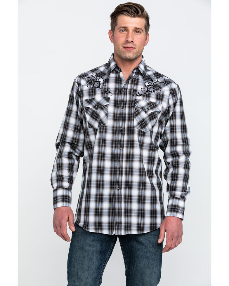Ely Cattleman Men's Black Retro Plaid Embroidered Long Sleeve Western Shirt , Black, hi-res