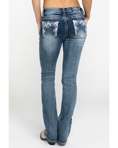 Grace In LA Women's Abstract-Detail Boot Cut Jeans, Blue, hi-res