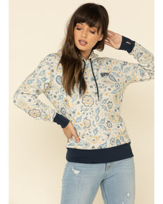 HOOey Women's Cream Paisley Hoodie Sweatshirt, Cream, hi-res