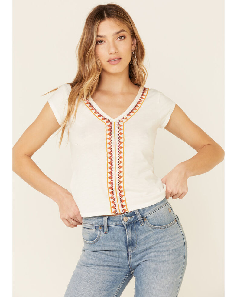Idyllwind Women's Embroidered Knit Top , White, hi-res