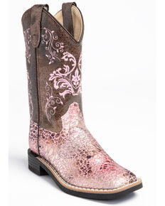 Shyanne Youth Girls' Faux Leather Western Boots - Square Toe, Pink, hi-res