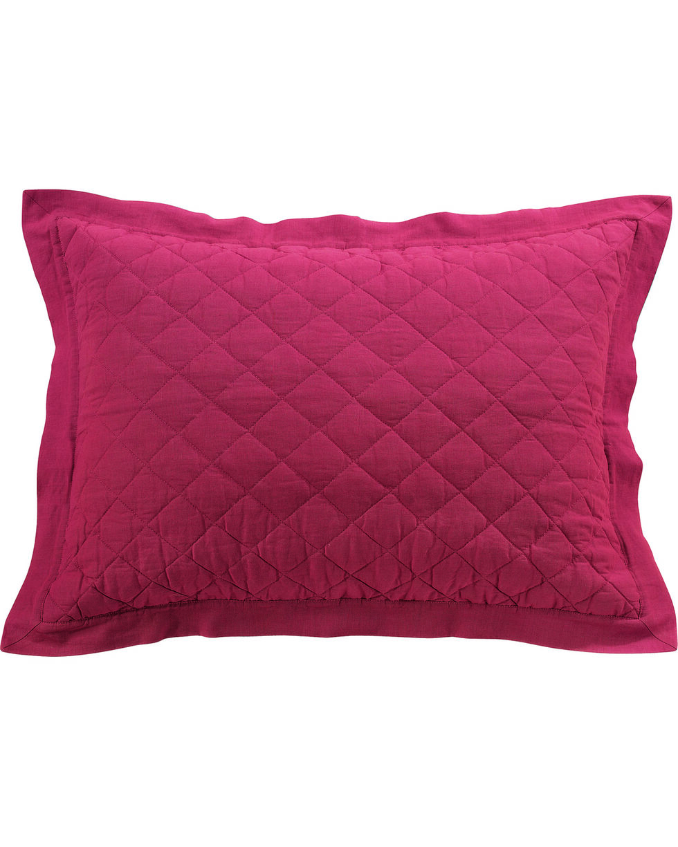 HiEnd Accents Diamond Pattern Quilted Red Linen Standard Sham, Red, hi-res
