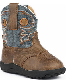 Roper Infant Boys' Daniel Distressed Saddle Vamp Cowbabies Boots - Round Toe, Brown, hi-res